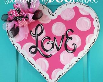 Heart Valentine's Day Wood Door Hanger by Simply aDOORable!  Heart Wood Door Hanger, Heart Door Decor, Valentines Door Decor, Monogram Heart
