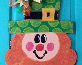 Leprechaun Wood Door Hanger by Simply aDOORable!  Leprechaun Door Decor, St. Patrick's Day Door Hanger Wood Door Hanger Leprechaun Wreath