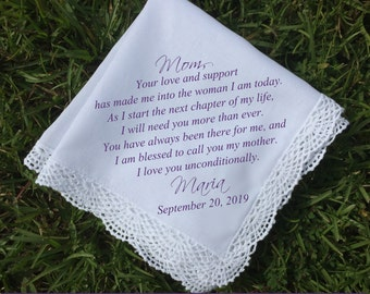 Mother of the Groom handkerchief, mother of bride gift, mother of groom gift, Personalized wedding gift idea, PRINTED handkerchief (H 029)