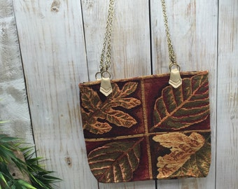 Tapestry Purse, Tapestry Leaf Purse, Autumn Purse, Fall Leaves Bag, Fall handbag, Thanksgiving purse, Leaf Bag, Fall Purse, Tapestry Bag
