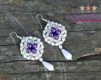 White Earrings, Purple Violet, Matte White Pearls, Beaded Beadwork, Long Large Teardrop Glass Amethyst, Fashion Jewelry, Birthday Gift