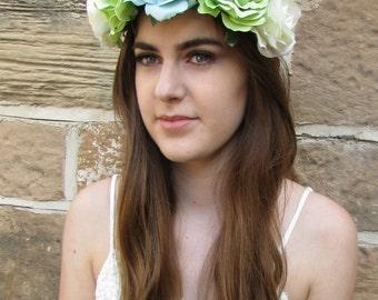 Large Green Turquoise Ivory White Rose Flower Festival Headband Garland Vtg X-45
