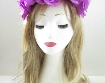 Large Purple Rose Flower Hair Crown Headband Garland Coachella Festival Big W35