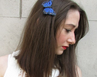 Blue Butterfly Hair Clip Fascinator Races Black White Boho Bridesmaid Vtg A53