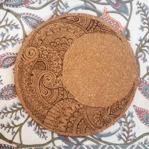 Moon Mehndi Liberty : Henna moon cork board boho home decor laser cut crescent