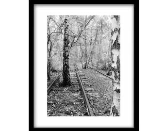 Train Tracks, Black and white prints, Black and White Photography, Railroad Photography, Train Photography, Large Wall Art, Railroads