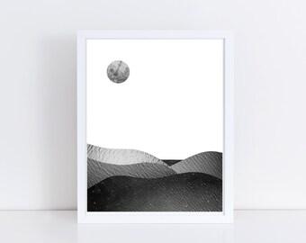 Black and white print, minimalist poster, landscape print, mixed media art, mixed media collage art, moon print, vintage photos, wall art