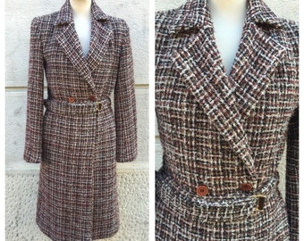 70s Sartorial Wool Double Breasted Belted Coat Size M