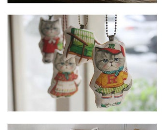 DIY Cat Fabric Doll, Cushion, Sewin Linen Cotton Fabric Panel, KID Pillow Doll Panel to Cut, Stitch and Stuff o014