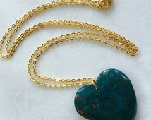 "Jasper Stone Heart Necklace--Dark Teal-Tan | Natural Carved Stone on 30"" Gold-Plated Cable Chain 