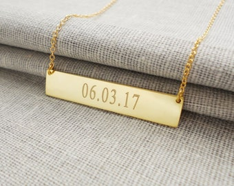 Date Bar necklace, Gold Wedding Date Necklace,Personalized Birthday Bar Necklace,Engraved anniversary Necklace,Custom Bar Necklace