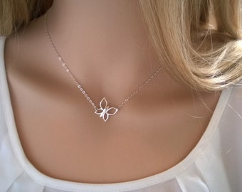 Sterling silver butterfly necklace; simple sterling silver necklace