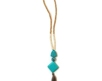 Turquoise Pendant Necklace, Long Turquoise Necklace, Long Pendant Necklace, Boho Pendant Necklace, Tassel Pendant, Boho Pendant, Necklace