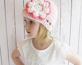 Flower Crochet Hat, Crochet Flower Hat, Infant Crochet Hat, Toddler Crochet Hat, Girl's Crochet Hat, Women's Crochet Hat