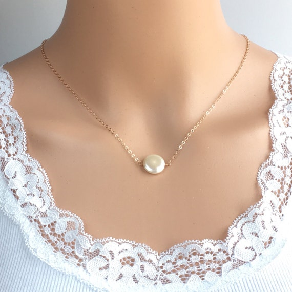 rose gold single pearl necklace single pearl by