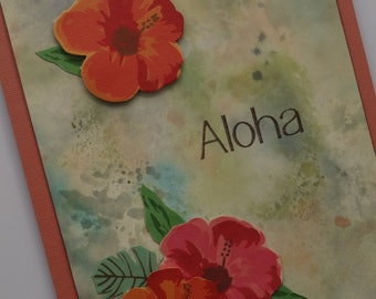 Hawaii Aloha card with hibiscus flowers