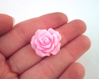 10 Pink Rose Cabochons 20mm