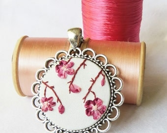 Cherry blossom necklace Ribbon embroidery necklace Hand embroidery necklace Silver necklace Handmade ribbon necklace