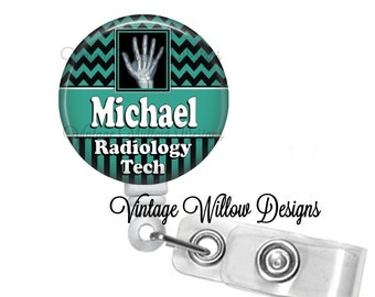 Personalized Radiology Tech (RT2) Retractable ID Badge Reel