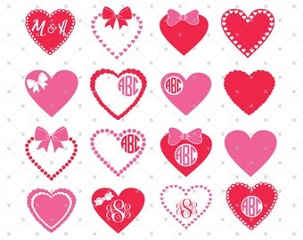 Valentine day SVG, Hearts SVG Cut files, Hearts Monogram Frame SVG Cut Files for Cricut, Silhouette and other Vinyl Cutters, svg cut files