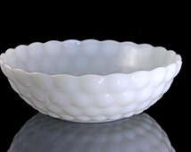 Vegetable Bowl, Anchor Hocking, Bubble - Milk Glass, Serving Bowl, Discontinued,
