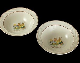 Children's Soup/Cereal Bowl, Nursery Rhyme, Rub a Dub Dub, Child's Bowl, Set of 2