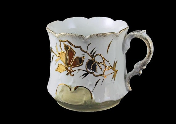 Antique Teacup, White, Gold Gilt, Thin Porcelain, Floral Pattern, Scalloped Edge, Mug
