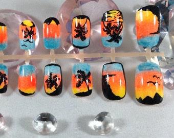 press on nails,fake nails,false nails,beach nails,sunset nails,beach nail art,silhouette nails,nail art,ombre nails,gradient nails,palm tree