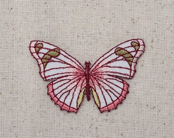 Butterfly - Pink and Burgundy - Iron on Applique - Embroidered Patch - 1516980A