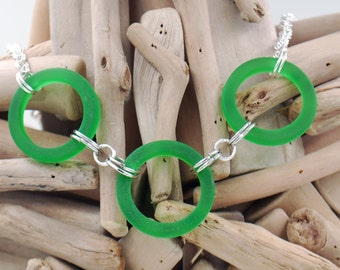 Green Recycled Glass Rings Necklace