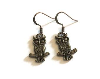 Owl Charm Earrings - Owl Earrings - Bronze Owl Earrings - Owl Jewelry - Bronze Jewelry - Dangle Earrings