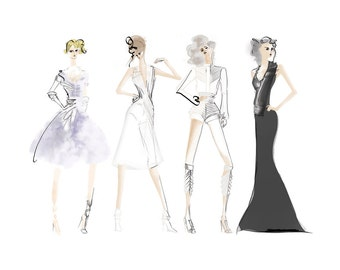 Fashion Collection Greeting Card - 5x7 Greeting Card - Fashion Illustration Card