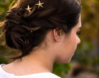 gold star hair pins star bobby pins gold star hair clip star hair grips new years eve hair winter hair accessories stars barrette new year's