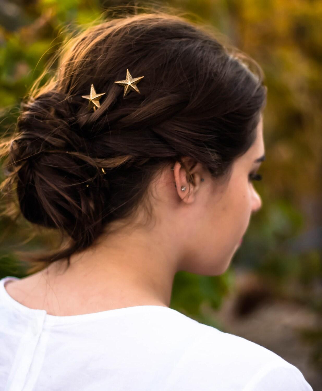 gold star hair pins star bobby pins gold star hair clip star