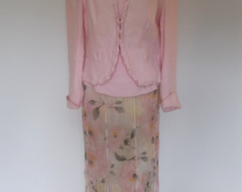 Vintage pink linen floral skirt suit by Claudia Strater skirt with Jacket and top Size Small