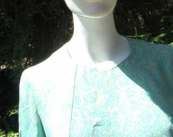 1960s  Blue & Green Brocade Dress -   Size 12