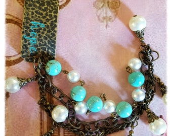 "Brass ""Hope"" Link Bracelet, Turquoise Beads, Pearls and chunky brass Chain, Vintage Assemblage Bracelet, Repurposed and Upcycled Jewelry"