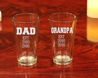 Dad Beer Glass, Etched Dad Beer Glass, Dad Gift, Fathers Day Gift, Gift for Fathers Day, Beer Glass, Dad, Fathers Day