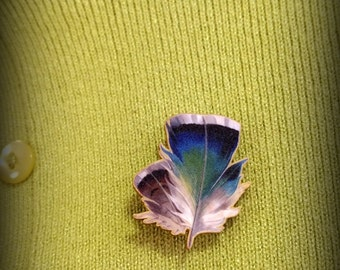 Blue and Green Feather Lapel Pin - Faux Feather Brooch - Feather Fashion Accessory - Unisex Pin - Mens Fashion - Womens Fashion - Plastic