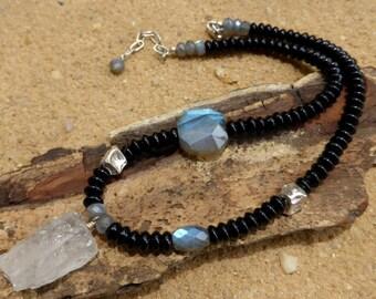Labradorite Necklace Rock Quartz Pendant Black Agate Flashy Gemstone Blue Flash Sterling Silver Nuggets Statement Artisan Boho