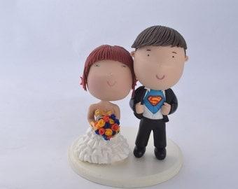 Superman groom and Wonder Woman bride. DC cake topper. Wedding figurine.  Handmade.