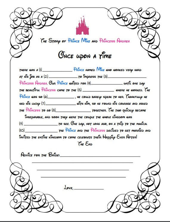 Disney mad libs game for bridal shower instant download for Bridal shower games that aren t cheesy
