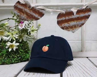 New PEACH Baseball Hat Low Profile Curve Bill Navy Blue Embroidered