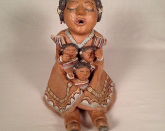 Native American Pottery Storyteller Figural Group