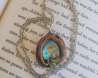 Labradorite Stone Polymer clay wood Necklace