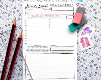 Writer's Block Character Booklet | Pack of 12 | A6 size, 12 pages | Character Template | Develop your characters | Author & Writer's Tool