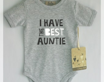 I have the best auntie baby bodysuit. Best aunt baby clothes. Modern baby clothes