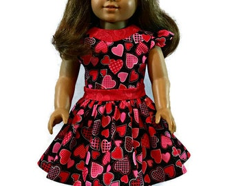 """American Girl Valentine's Day dress. Valentine dress fits American Girl and similar 18"""" dolls."""
