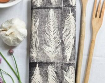 Tea Towel - Feather Tea Towel - Flour Sack Towel - Housewarming Gift - Modern Kitchen Decor - Cotton Dishcloth - Tea Towel Flour Sack - Grey