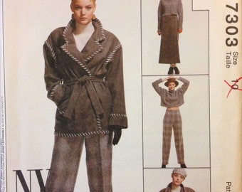 McCalls 7303 - New York Collection Winter Unlined Jacket, Top, Wrap Skirt, Pants - Size 10